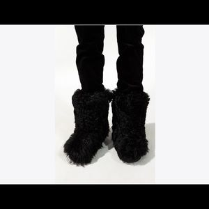 YSL Furry Boot In Lambskin